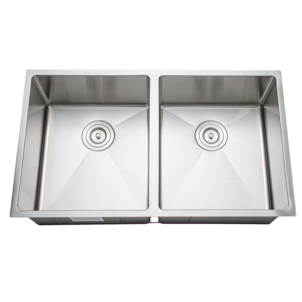 Wells The Chefs Series Undermount Stainless Steel 33 in. Handmade 50/50 Double Bowl Kitchen Sink