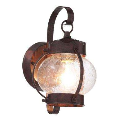 1-Light Old Bronze Outdoor Onion Wall Mount Lantern with Clear Seed Glass Shade