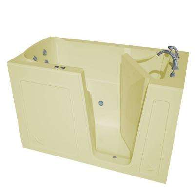 HD Series 60 in. Right Drain Quick Fill Walk-In Whirlpool Bath Tub with Powered Fast Drain in Biscuit