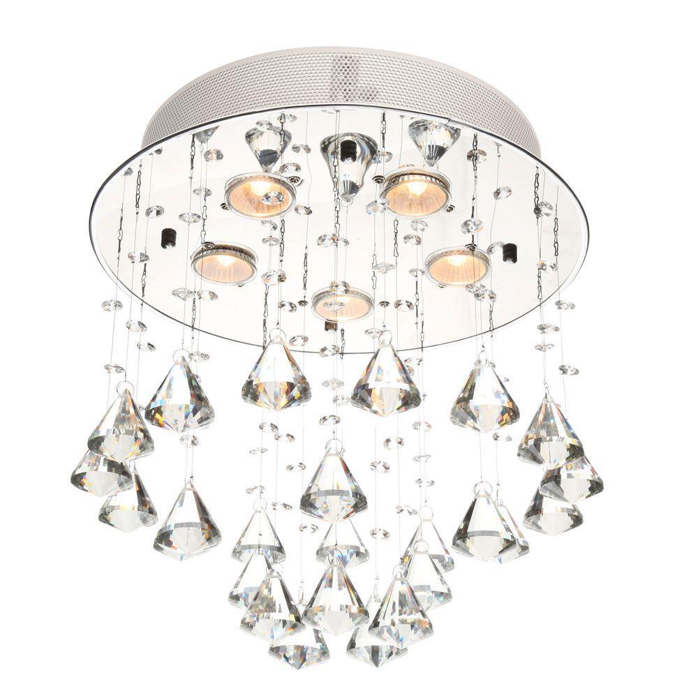 Catherine 5-Light Crystal Chrome Ceiling Lamp