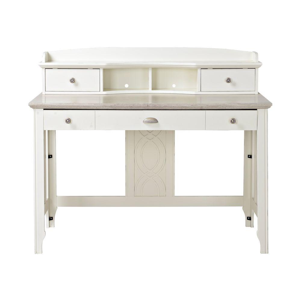 Flamelux Charlotte White Desk With Hutch Z1310007w The