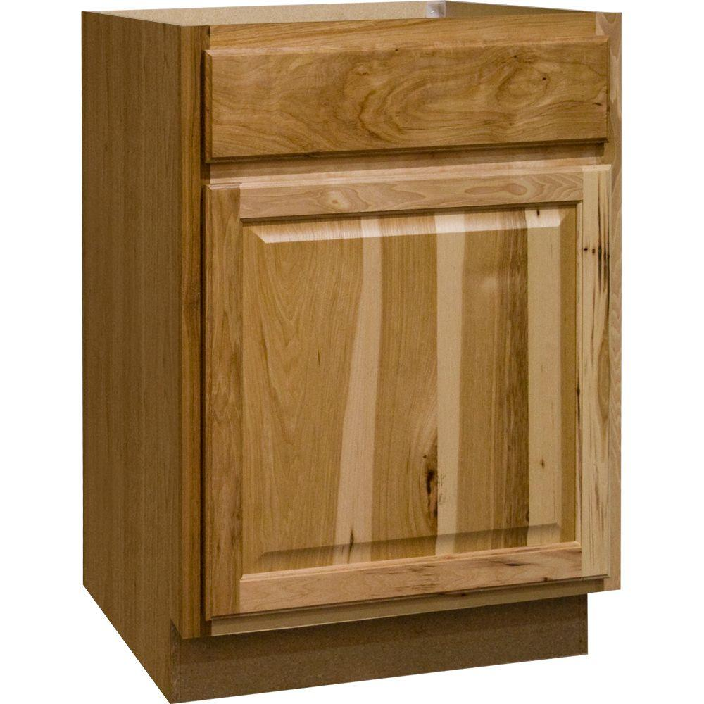 Hampton Bay Hampton Assembled 24x34.5x24 In. Base Kitchen Cabinet With  Ball Bearing Drawer Glides In Natural Hickory KB24 NHK   The Home Depot