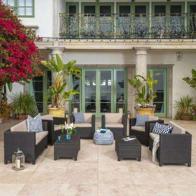 Fernanda Dark Brown 8-Piece Wicker Patio Conversation Set with Beige Cushions