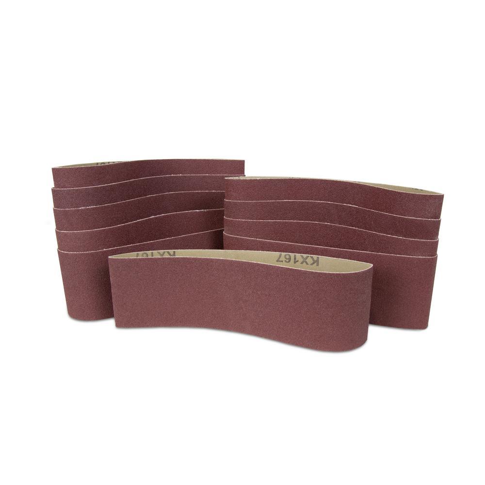 240-Grit 3 in. x 18 in. Sanding Belt Sandpaper (10-Pack)