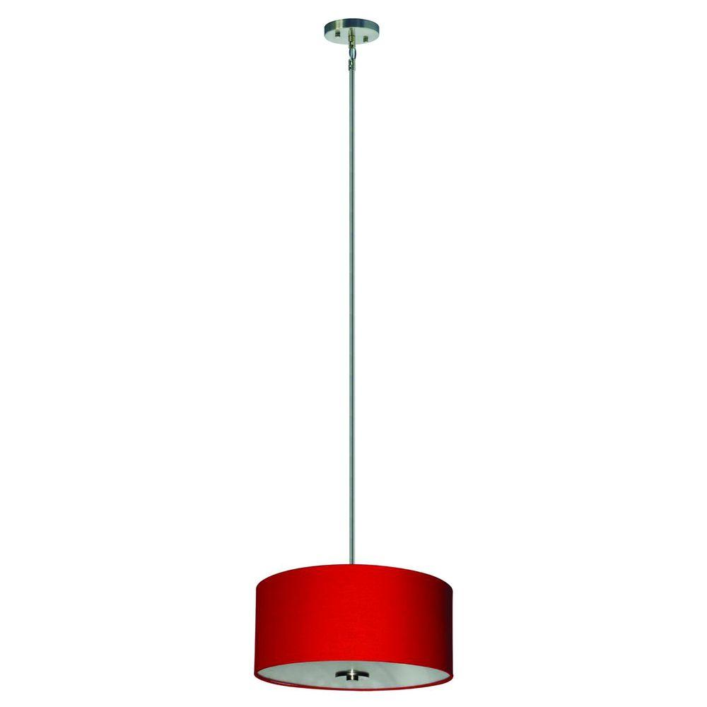 Yosemite Home Decor Lyell Forks Family 3-Light Satin Steel Pendant with Chili Pepper Red Fabric Shade