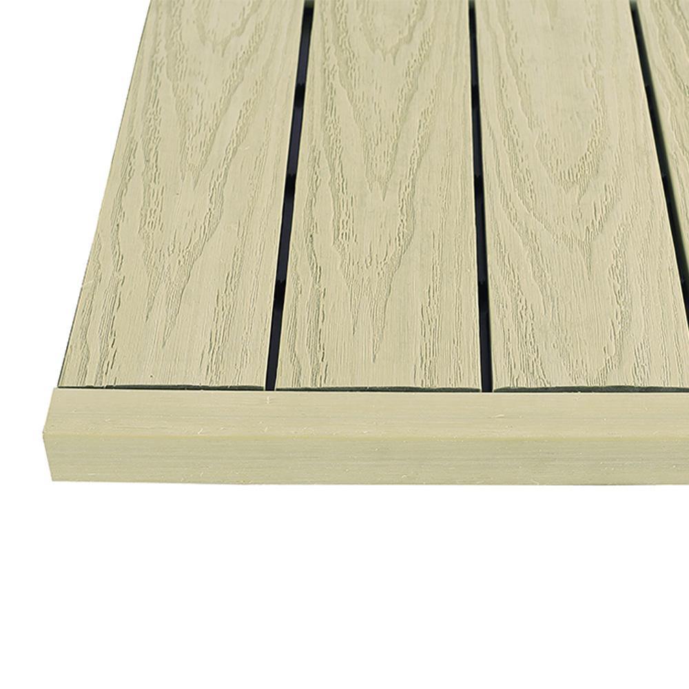 1/6 ft. x 1 ft. Quick Deck Composite Deck Tile Straight End Fascia in Sahara Sand (4-Piece/Box)