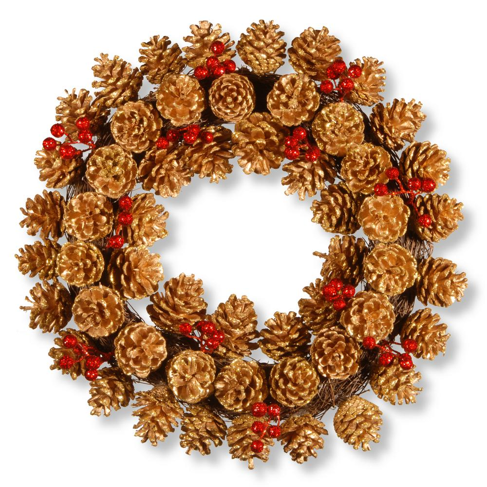National Tree Company 20 in. Glitter Cone Wreath