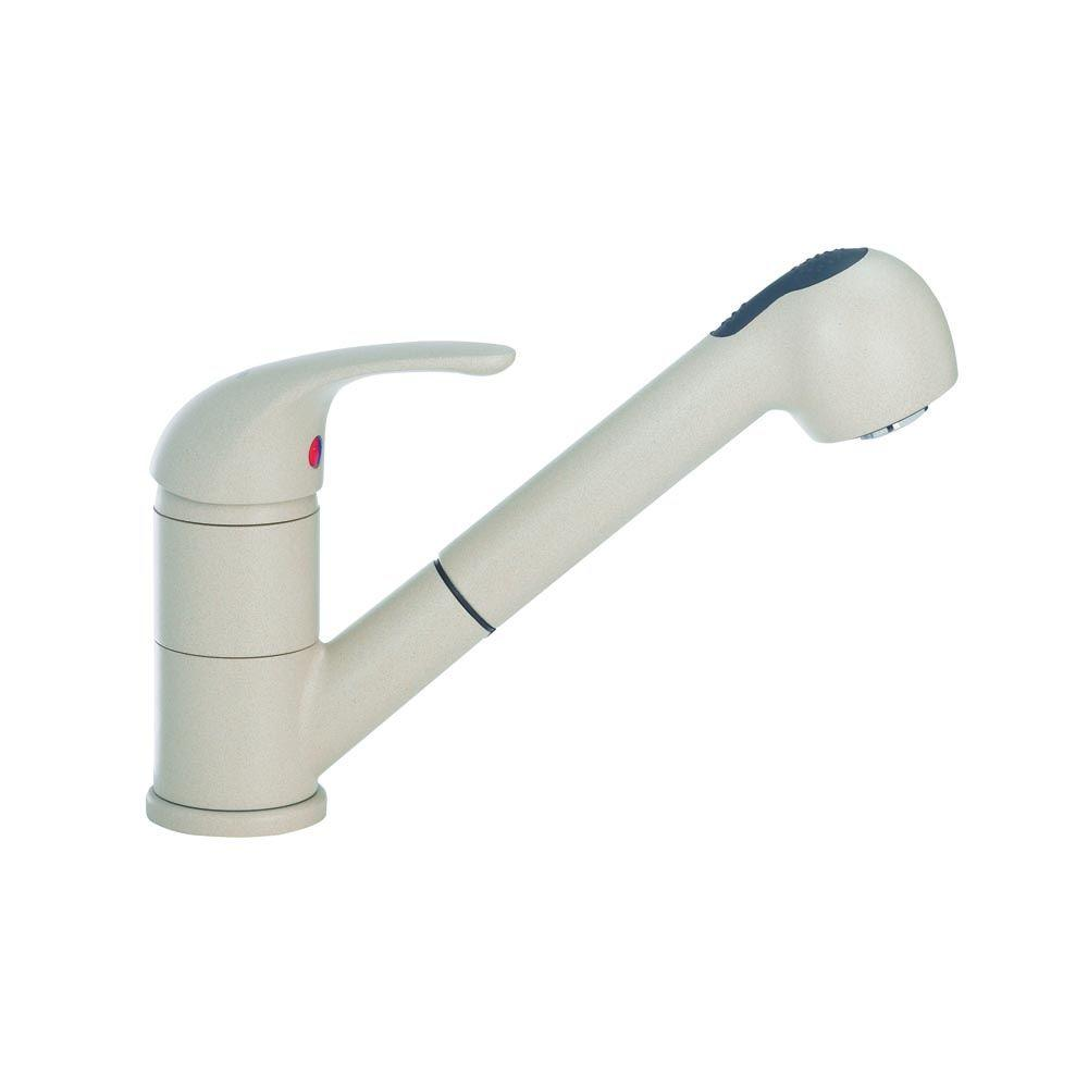 Blanco Torino Jr. Single Handle Pull Out Sprayer Kitchen Faucet In Biscotti