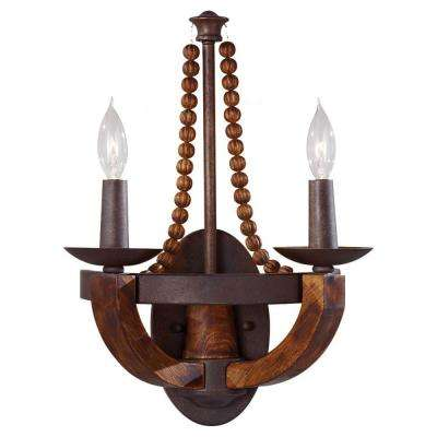 Adan 2-Light Rustic Iron/Burnished Wood Wall Sconce
