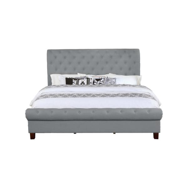 Gray Queen Size Upholstered Rounded Panel Bed