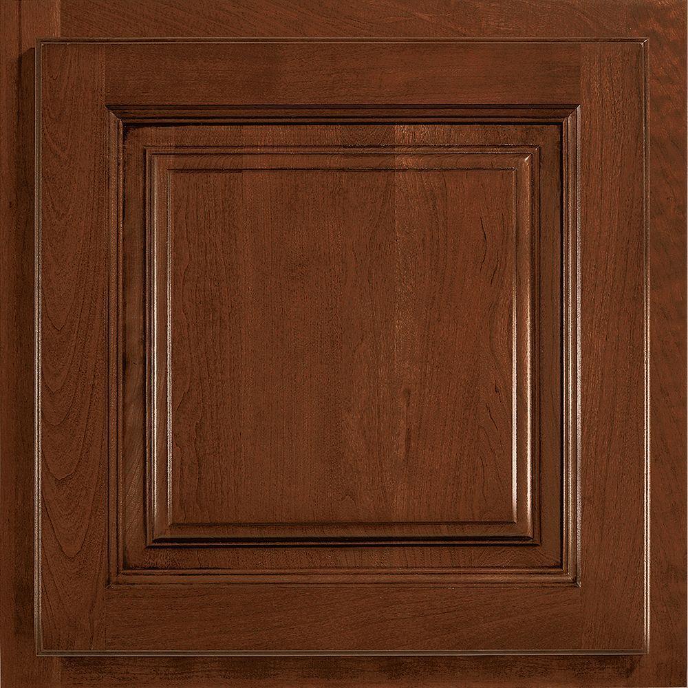 American Woodmark 13x12-7/8 in. Cabinet Door Sample in Newport Cherry Chocolate Glaze