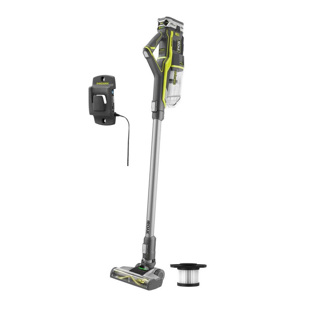 RYOBI 18-Volt ONE+ Lithium-Ion Cordless Stick Vacuum Cleaner with (1) High Capacity 4.0 Ah Battery and (1) Extra Filter