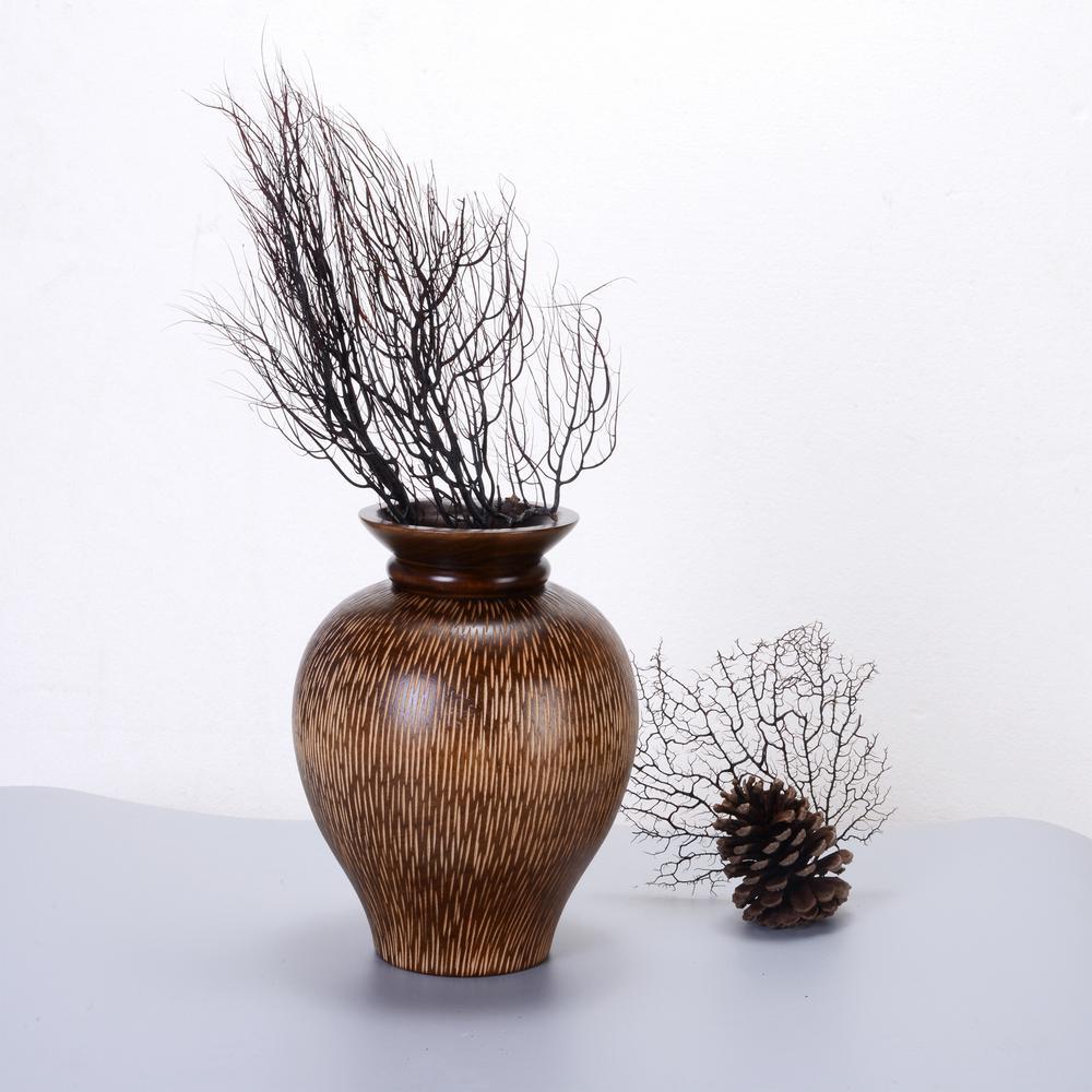 10 in. Brown Handmade Mango Wood Decorative Urn Vase