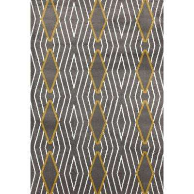 Contemporary Diamond Stripe Yellow Gray 7 Ft 10 In X 2 Area Rug