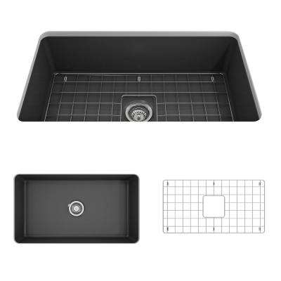 Sotto Undermount Fireclay 32 in. Single Bowl Kitchen Sink with Bottom Grid and Strainer in Matte Dark Gray