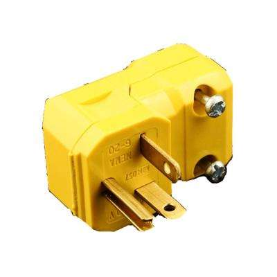 20 Amp 250-Volt Straight Blade Grounding Angle Plug, Yellow