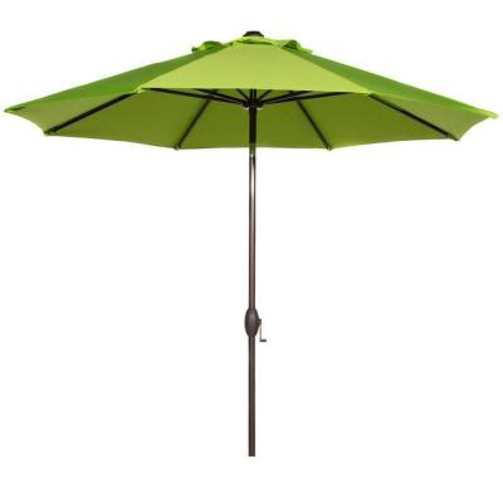 9 ft. Market Patio Umbrella Aluminum Pole with Auto Tilt and Crank, Lime Green (8-Ribs)