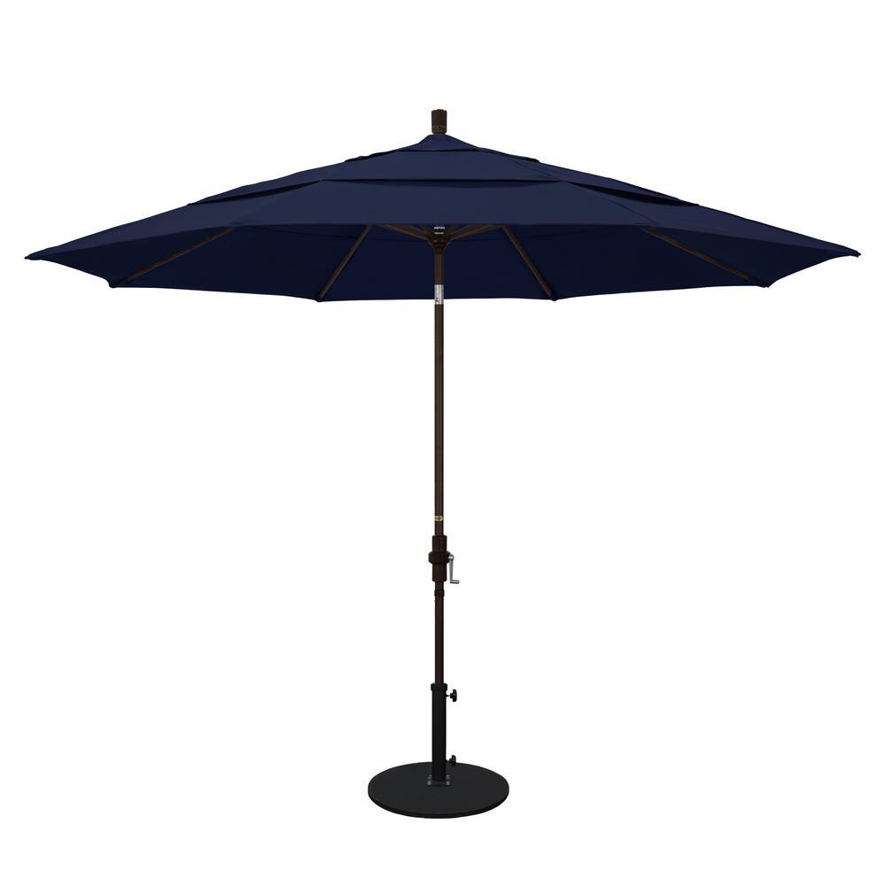 11 ft. Aluminum Collar Tilt Double Vented Patio Umbrella in Navy Blue Olefin