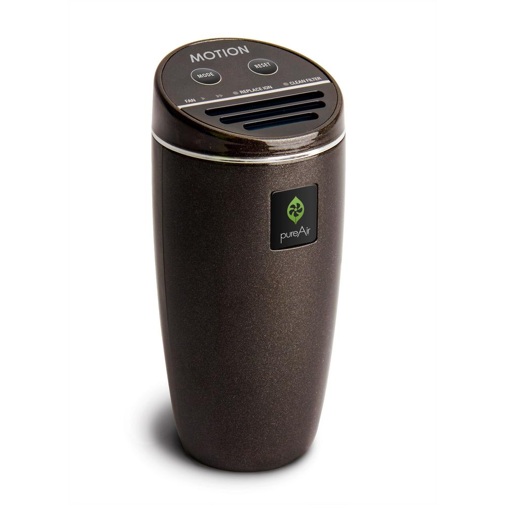 GreenTech Environmental PureAir Motion - Compact for Vehicle, Cluster Ion Technology, Filterless Air Purifier, Black Pearl