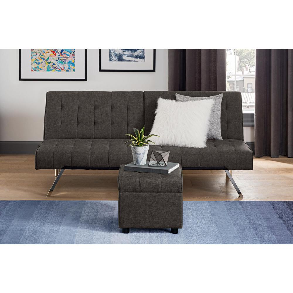 Dhp Emily Gray Linen Square Storage Ottoman 2163429 The Home Depot