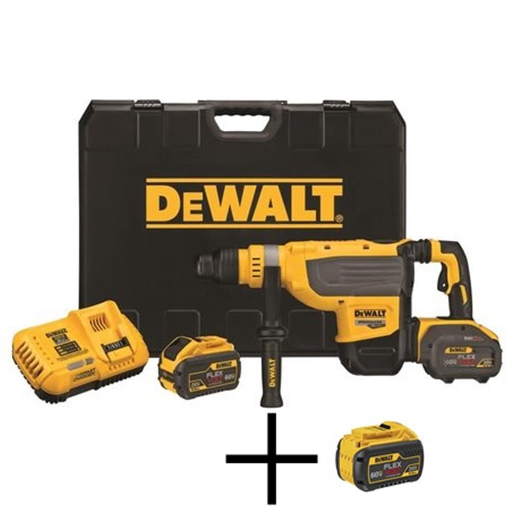 DEWALT FLEXVOLT 1-7/8 in. 60-Volt MAX Lithium-Ion Brushless Cordless SDS Rotary Hammer Kit, Free 20-Volt/60-Volt Battery Pack