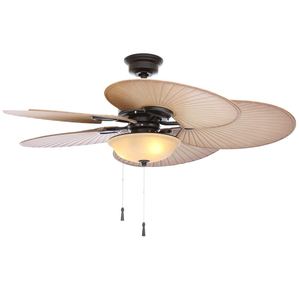 Led Indoor Outdoor Natural Iron Ceiling Fan With Light