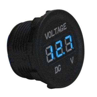 Marine Grade DC Socket Voltmeter in Blue Display