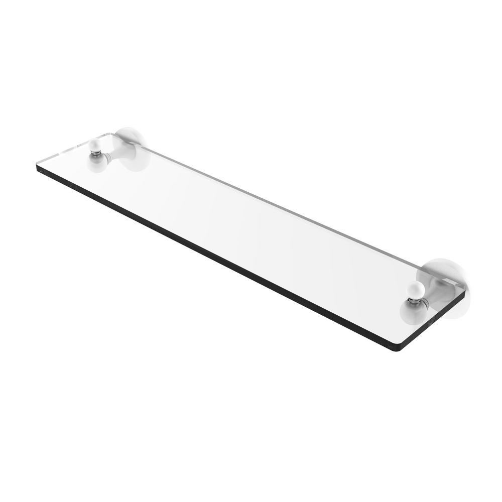 Allied Brass Sag Harbor Collection 22 in  Glass Vanity Shelf with Beveled  Edges in Matte White