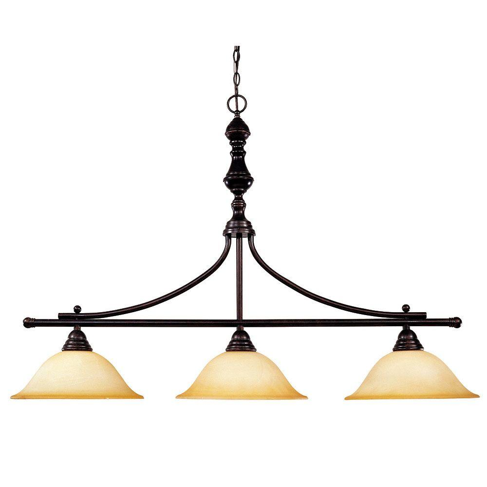 Illumine 3-Light English Bronze Trestle with Cream Faux Marble Glass
