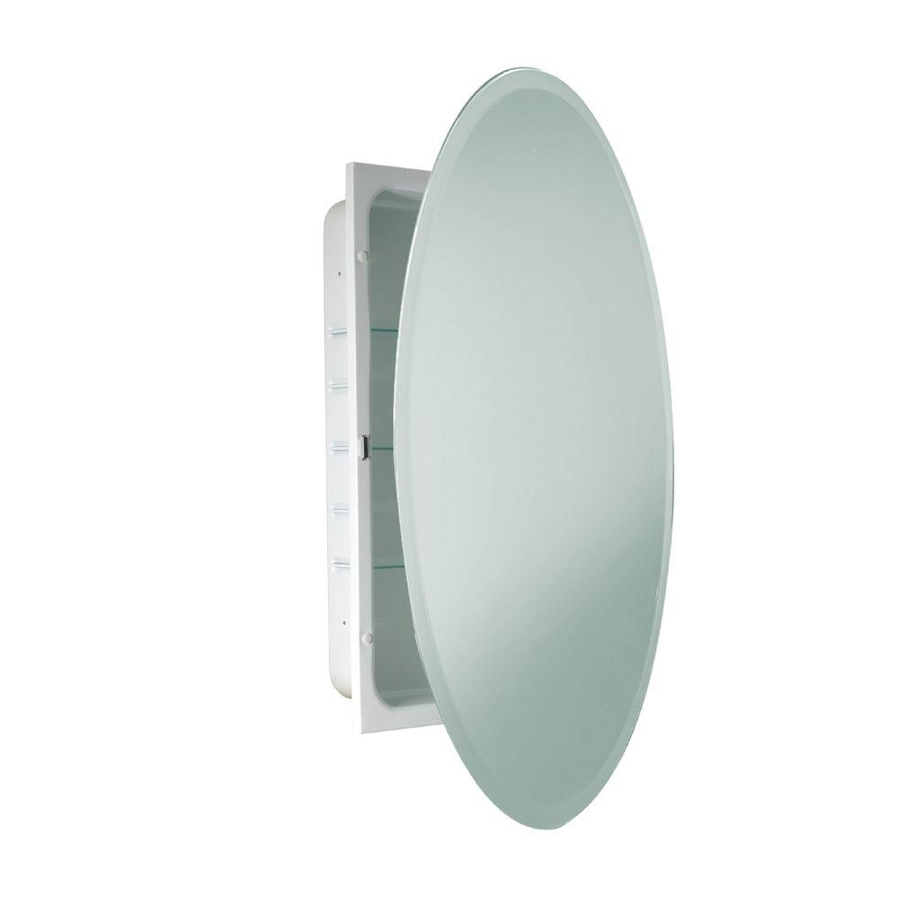 Deco Mirror 24 in. x 36 in. Recessed Beveled Oval Medicine Cabinet