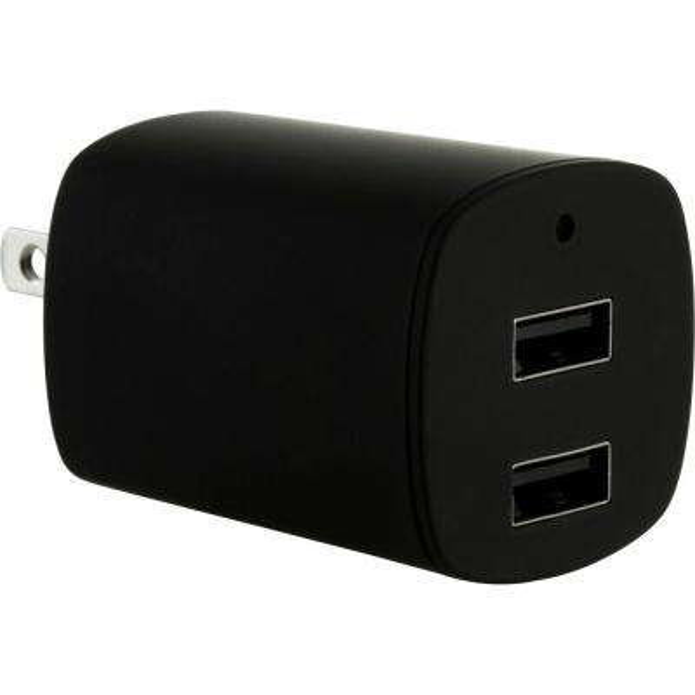 2.1 Amp Dual Port AC to USB Adapter, Black