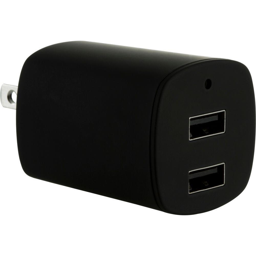 GE 2.1 Amp Dual Port AC to USB Adapter, Black