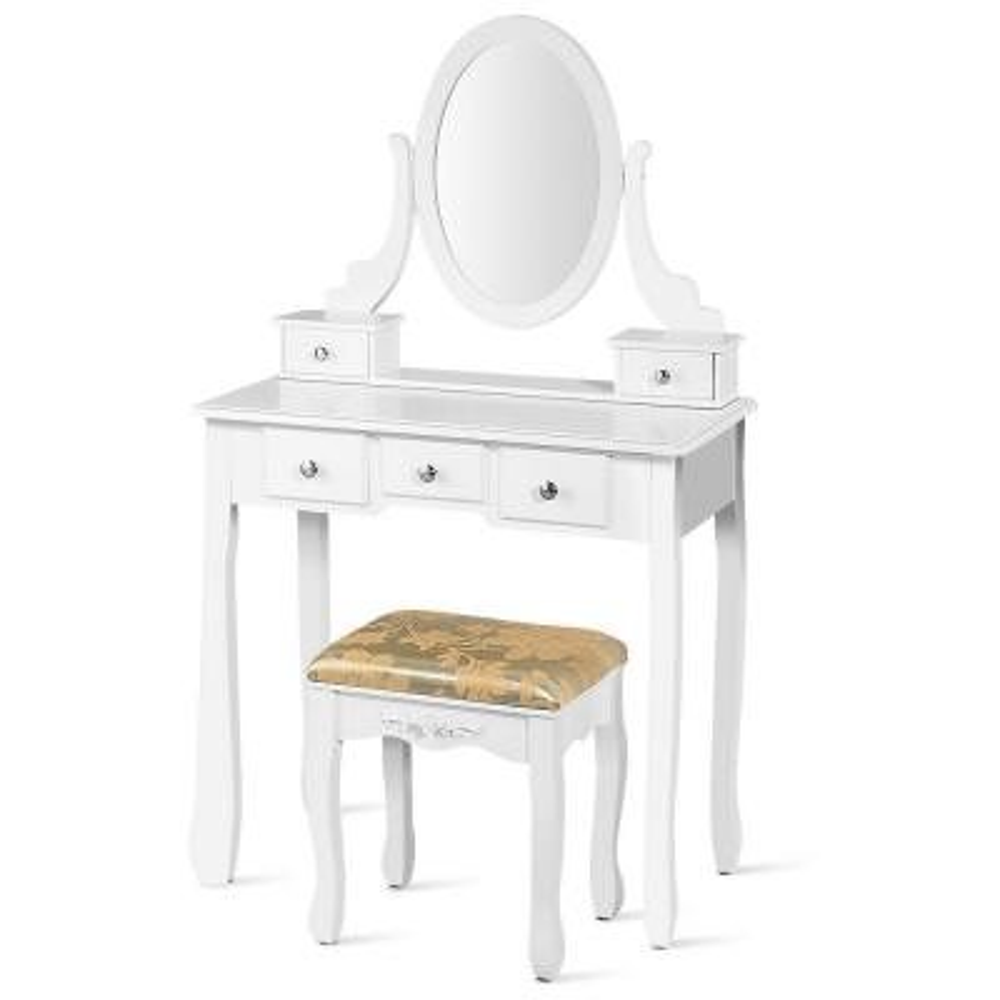 5-Drawer Vanity Table Set Dressing Table Set Make Up Table and Stool Set White