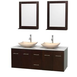 Wyndham Collection Centra 60 inch Double Vanity in Espresso with Solid-Surface Vanity Top in White, Ivory Marble Sinks... by Wyndham Collection