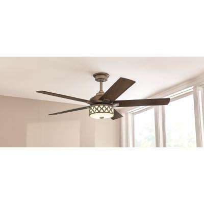 Wynn 54 in. Integrated LED Indoor Heritage Bronze Ceiling Fan with Light Kit with Remote Control