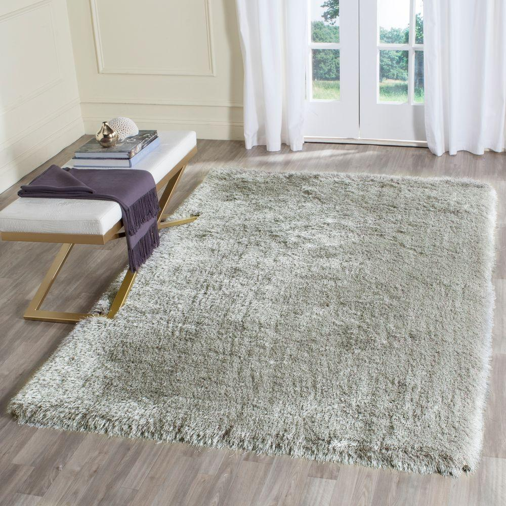 Beautiful Safavieh Memory Foam Plush Shag Silver 4 Ft. X 6 Ft. Area Rug