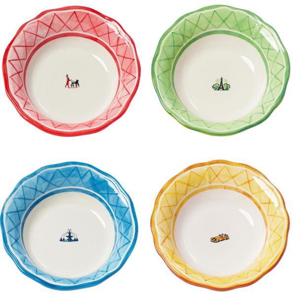 An American In Paris 4-Piece Assorted Soup Bowl Set