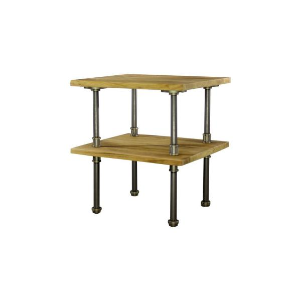Corvallis Farmhouse Industrial, Natural Pipe Side/End Table Bedroom Night Stand 2-Shelf-Metal-Reclaimed/Aged Wood