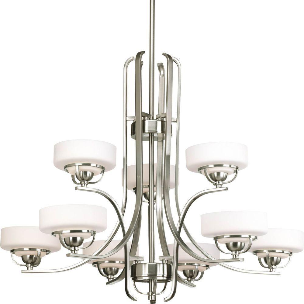 Progress Lighting Torque Collection 9-Light Brushed Nickel Chandelier