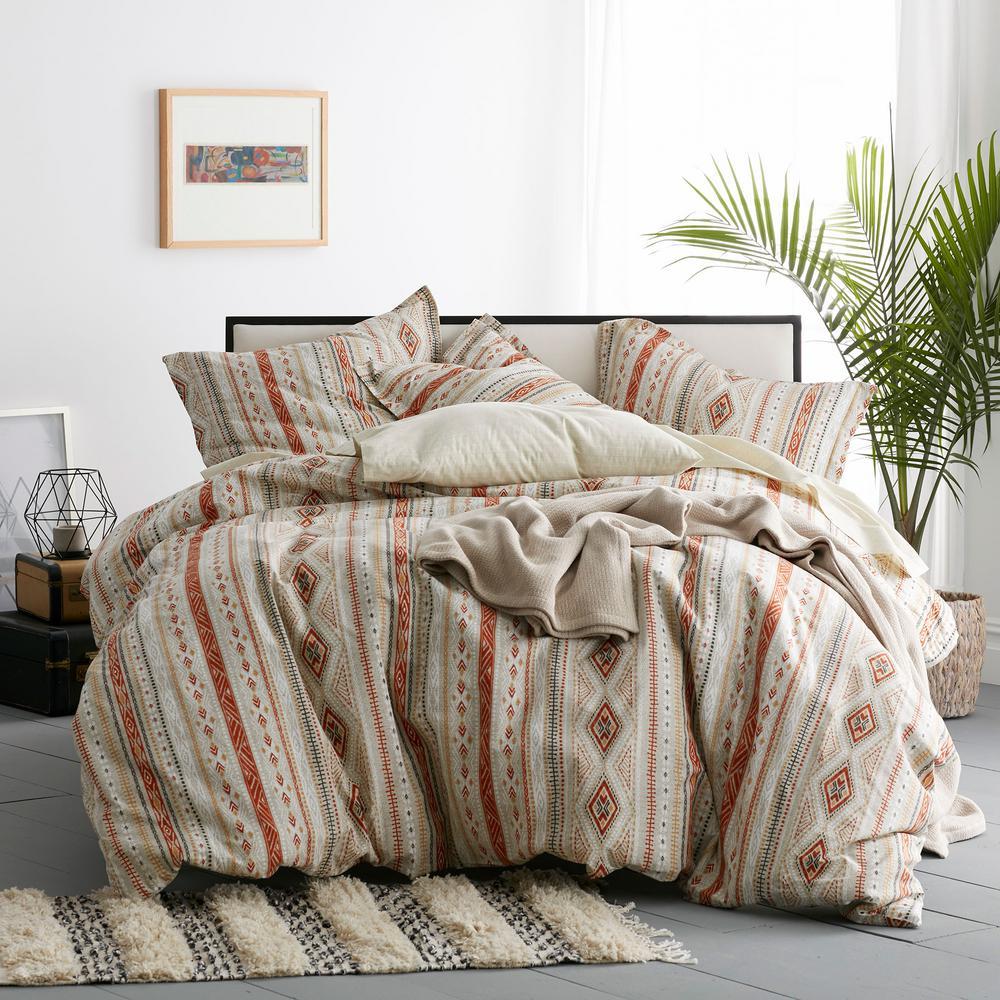 Ithaca 3-Piece Multicolored Geometric Cotton Percale Queen Duvet Cover Set