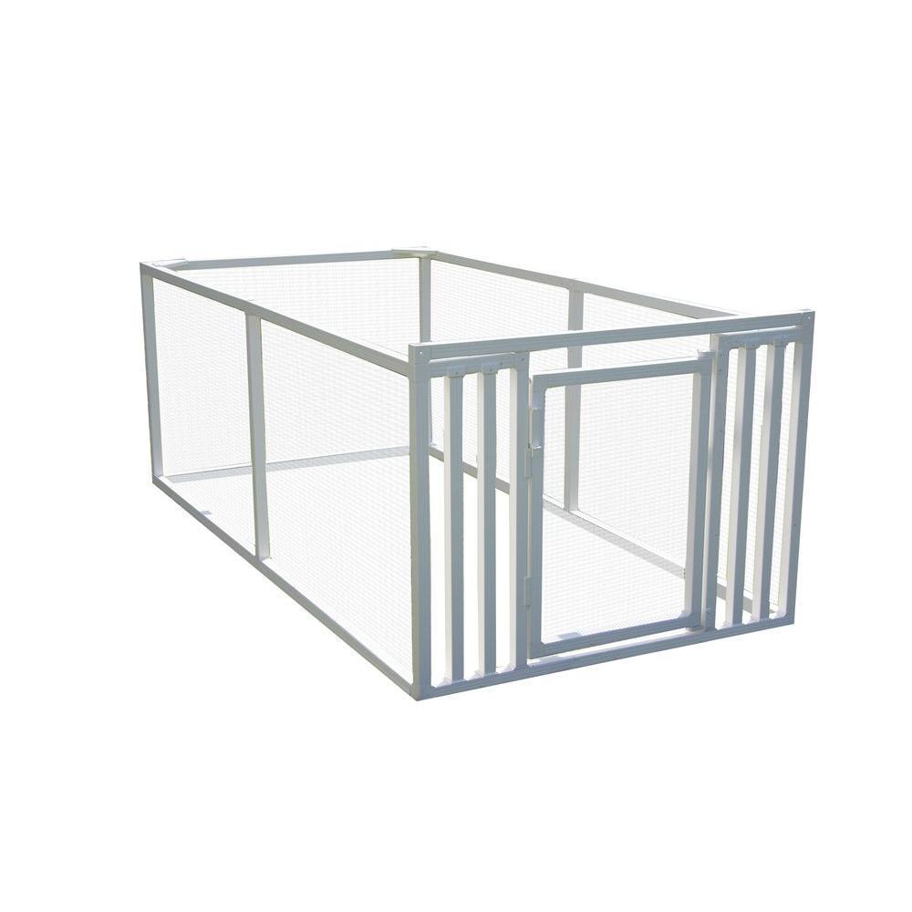 3 ft. x 4 ft. x 8 ft. White Modular Vinyl Pet/Garden Enclosure with Wire Panels