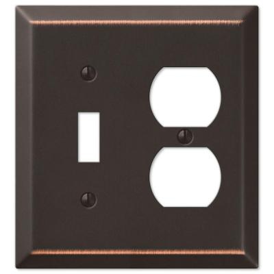 Metallic 2 Gang 1-Toggle and 1-Duplex Steel Wall Plate - Aged Bronze