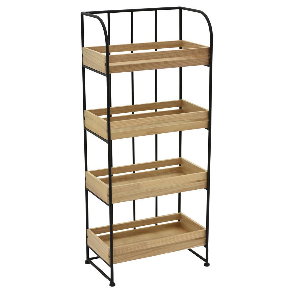37 in. Metal/Wood Storage Rack in Brown
