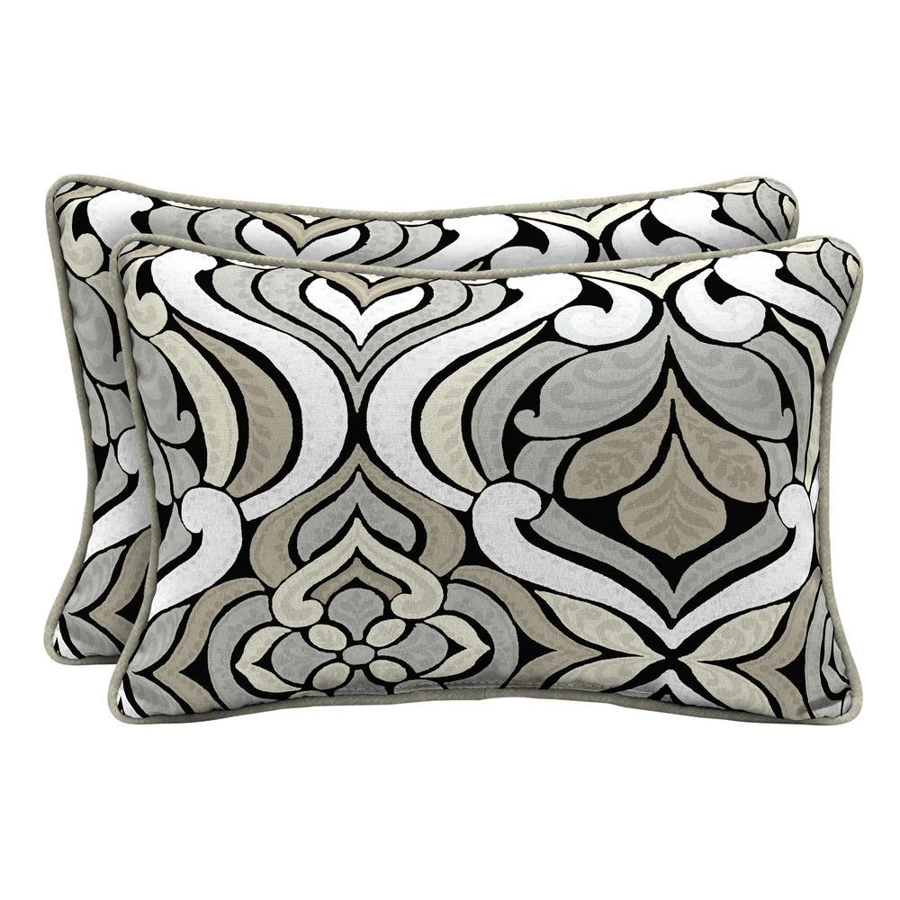 Hampton Bay Black And Gray Tile Lumbar Outdoor Throw Pillow 2 Pack