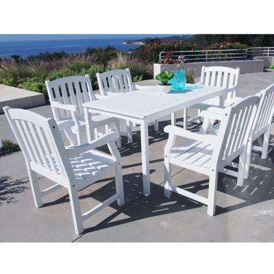 Bradley Acacia White 7-Piece Patio Dining Set with 32 in. W Table and Arched Slat-Back Armchairs
