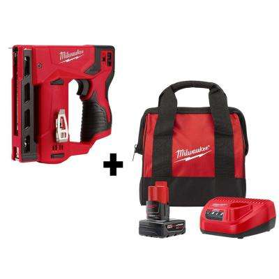 M12 12-Volt Lithium-Ion Cordless 3/8 in. Crown Stapler Kit with One 4.0 Ah Battery, Charger and Bag