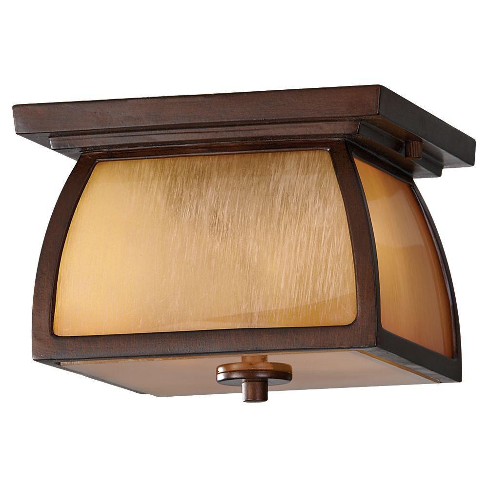 Wright House 1-Light Sorrel Brown Outdoor Flushmount