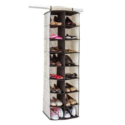 13.75 in. x 11 in. x 47.25 in. Geo Natural 16 Pocket Shoe Organizer