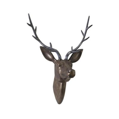 26 in. Deer Head Wall Decorative Sculpture in Bronze