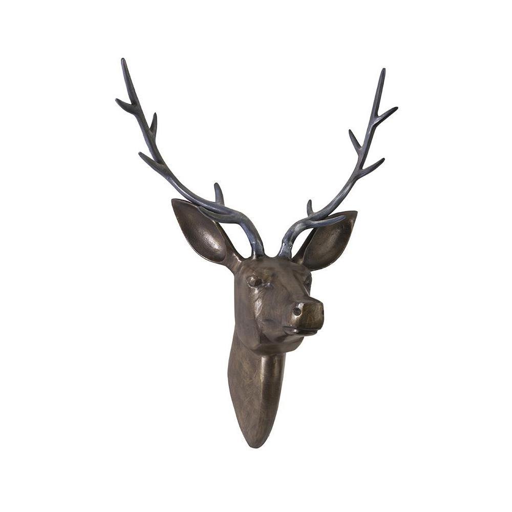 26 in. Deer Head Wall Decorative Sculpture in Bronze